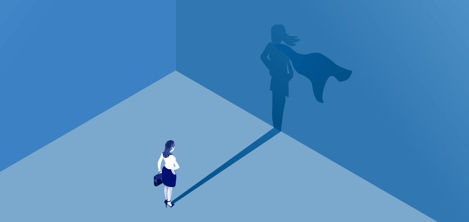 Woman viewing her shadow as a superhero